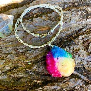 ☀️Preview! Tie dye quartz geode slice pendant